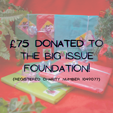 22nd December 2020: Today we donated £75 to @thebigissuefoundation Foundation (registered charity number 1049077). I say 'we' because without all you amazing people buying my book 'Lockdown Living 2020' we wouldn't have raised this much already in the first week.☺ Thank you so much to each and every one of you who have helped me almost reach number 60 books sold!!❤