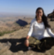 Yoga therapist during her education in India on a hill close the yoga ashram Yoga Vidya Gurukul.