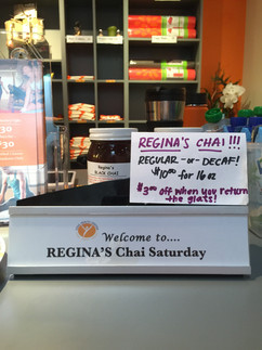 Regina's famous Chai Saturday