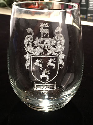 Etched Wedding Wine Glasses, Family Crests - Boise, ID
