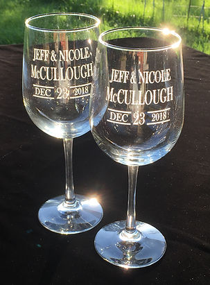Etched Engraved Wedding Wine Glass - Boise, ID