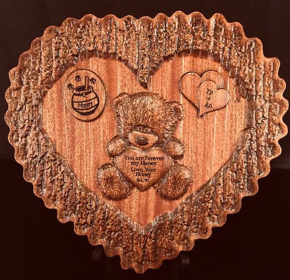Carved Gift Honeybear Anniversary Plaque - Boise, ID