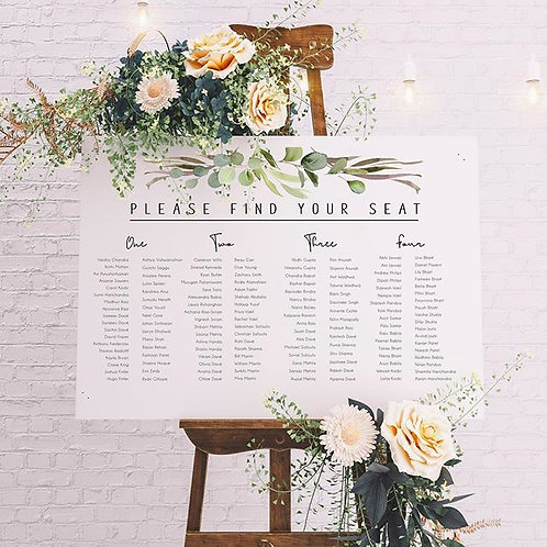 Printed seating chart
