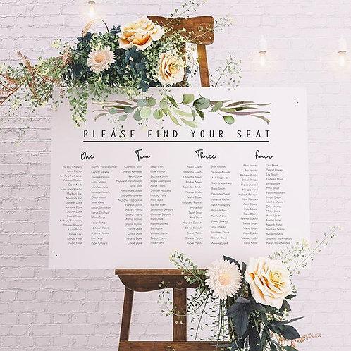 Printed seating chart