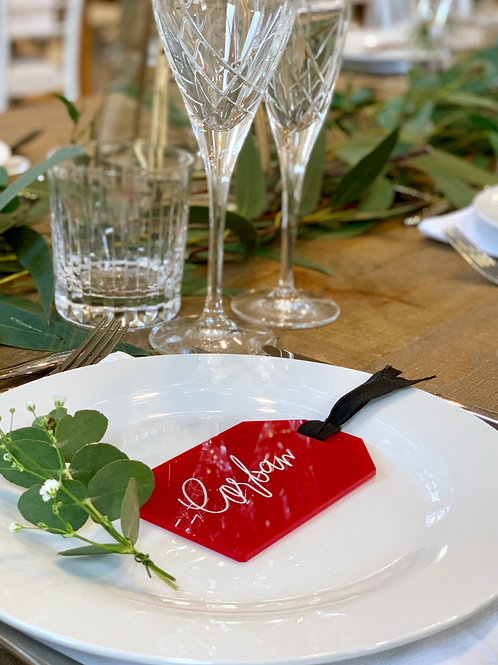 Acrylic Luggage Tag style place cards