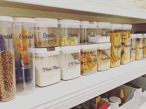 Custom pantry / organisational decals