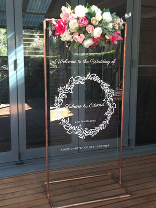 Copper and acrylic signs