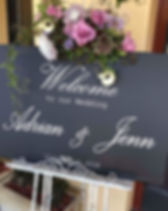 Our chalkboard sign for Adrian & Jenna's
