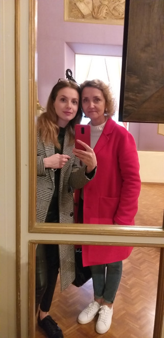 Olena and Halyna go for a walk