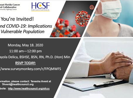 """""""Cancer and COVID-19:  Implications for a Vulnerable Population"""" FREE Webinar"""
