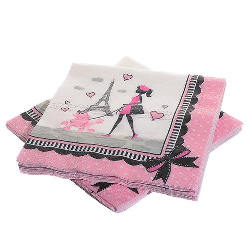 Pink Paris Birthday Lunch Napkins