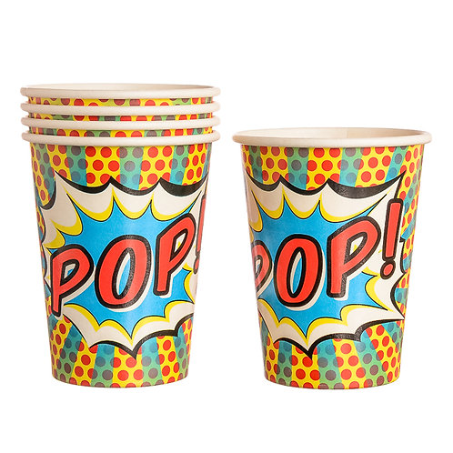 Ginger Ray Paper Cups Pop Art Superhero Party
