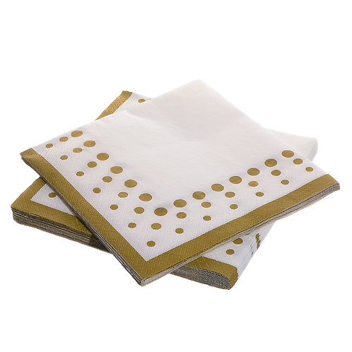 Gold Polka Dots Paper Napkins