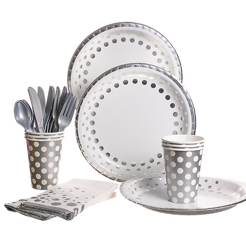 Silver Polka Dots Party Set