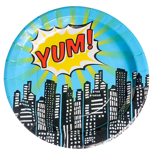 Ginger Ray Paper Plates Pop Art Superhero Party