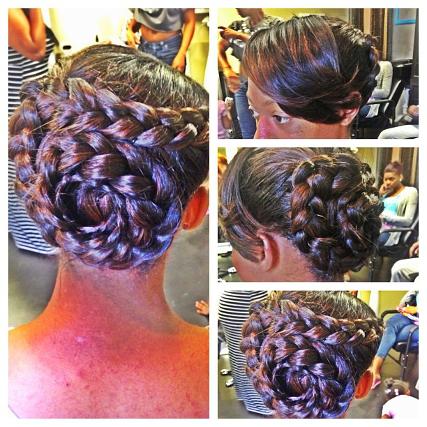PRiNCESS PROM WINNER!! This is a sew In pinned up in a braided bun..