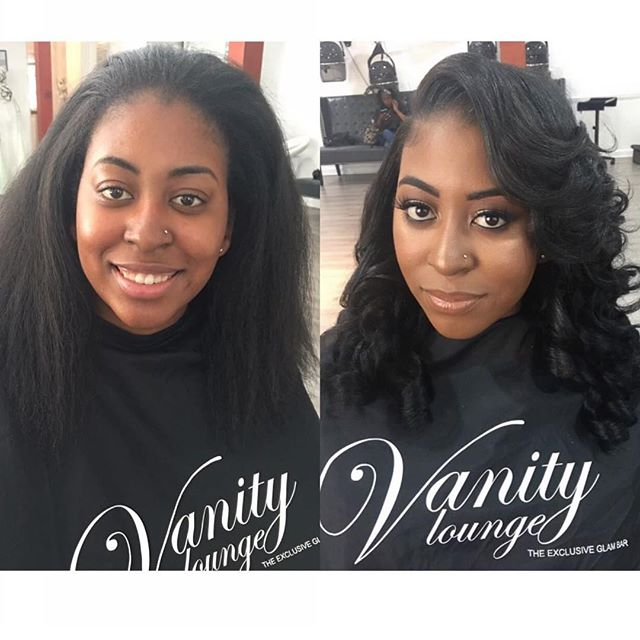 Before and After  on this beauty 👸🏾_💋Makeup by _tredayy_ _#vanityloungehair #vanitylounge #shesov
