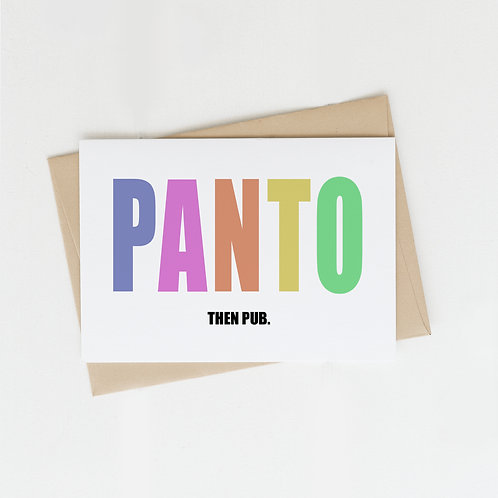 Panto Then Pub, Greeting Card