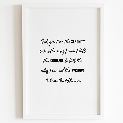 Grant Me The Serenity, Print