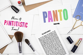 Panto cards selection including panto bubble, panto then pub greeting card and have a pantotastic time card.