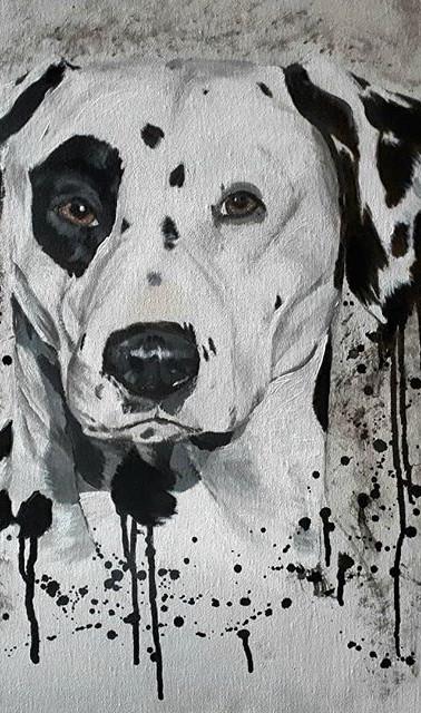 Réalisation portrait dalmatien peinture acrylique Sublim O Poil