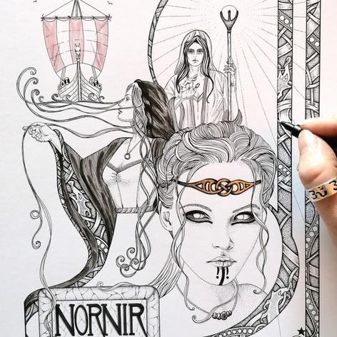 The Norns Norse Viking Triple Goddess Art Print