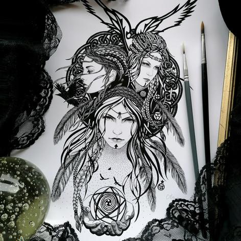 The Morrigan Irish Celtic Triple Goddess Art Print