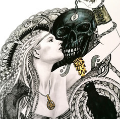 Freyja: Detail of hand-embellished giclée print using gold gouache