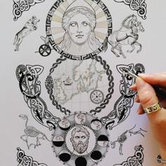 Sol & Mani Norse Viking Sun and Moon Art Print