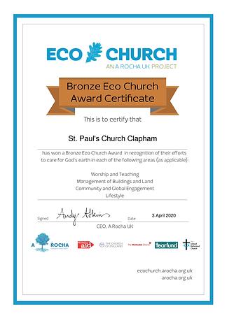 St. Paul's Clapham Eco Church Award Cert