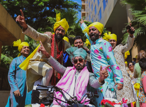 Siddharth with his friends on an ATV for his baraat