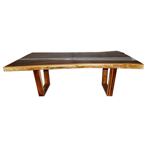 Live Edge Dining Table with Glass