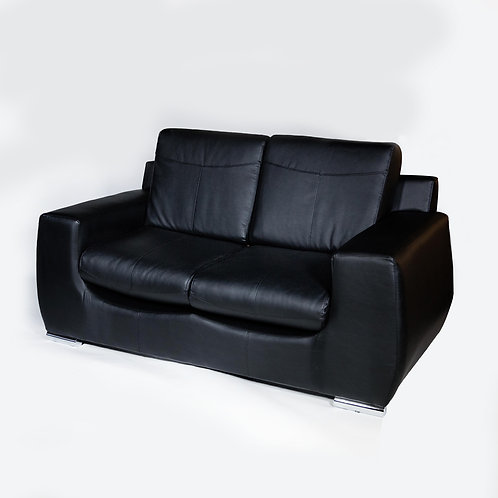 Lorient Love Seat (Black Leather)