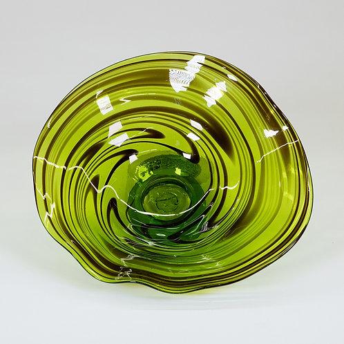 3 Piece Glass Wall Decor Set (Green Swirl)