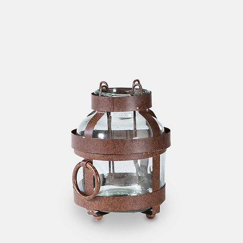 Rustic Iron and Glass Jar Lantern