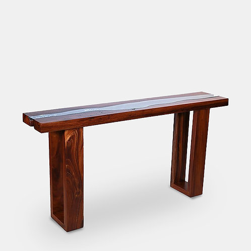 Straight Edge Console Table With Glass Runner Inlay