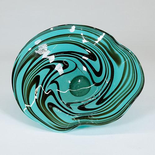 3 Piece Glass Wall Decor Set (Turquoise Swirl)