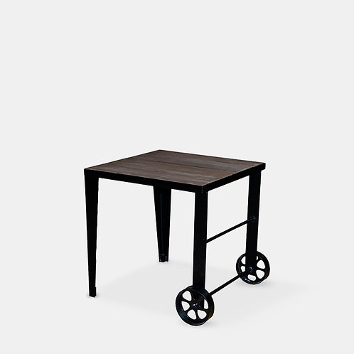 Vintage Side Table with Wheels