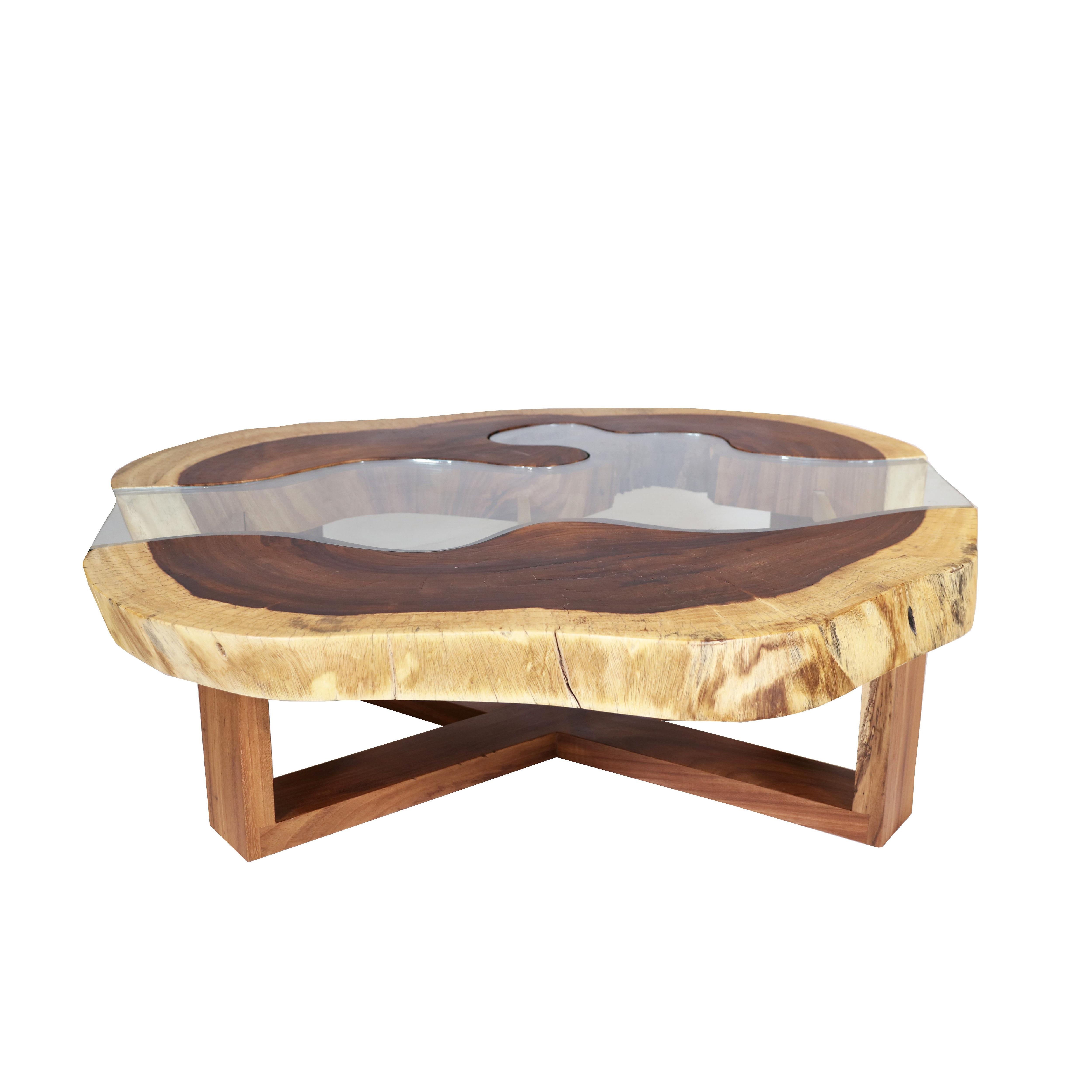 Live Edge Coffee Table With Glass Rez Furniture Usa