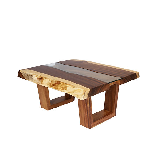 Live Edge Wood Table With Glass 12