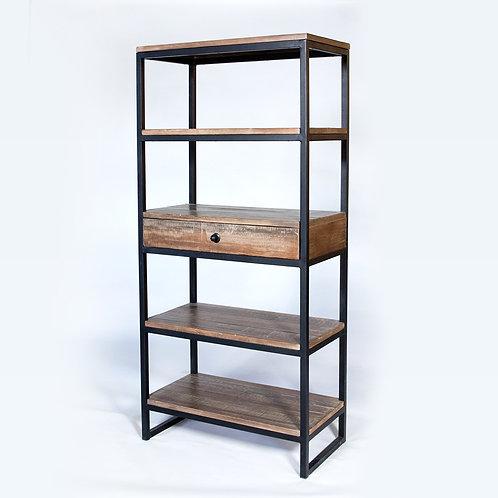 Wood and Metal Tall Bookshelf