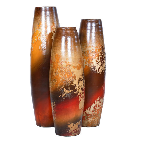 Clay Jar Vases  (Autumnal Set of 3 pieces)