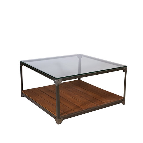 Industrial Coffee Table with Glass and Planks