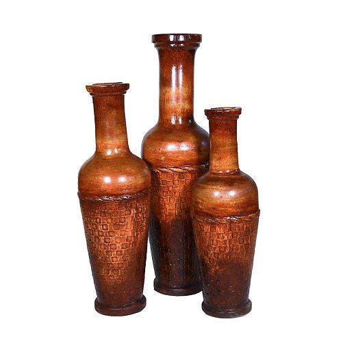 Jalisco Vases (Brown Set of 3 Pieces)