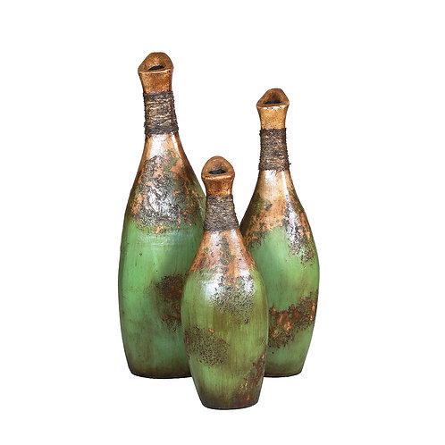Ave Vases (Green Set of 3 Pieces)