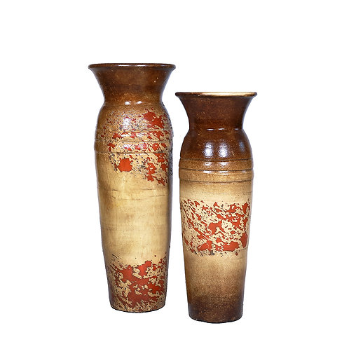 2-Ringed Vases (Brown Set of 3 Pieces)