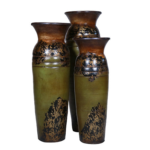 2-Ringed Vases (Earth Tones Set of 3 Pieces)