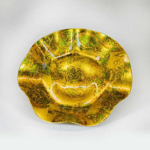 3 Pieces Glass Wall Decor Set (Gold Leaf/Green)