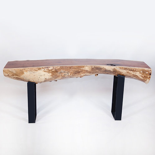 Live Edge Console Table with Matte Black Metal Legs