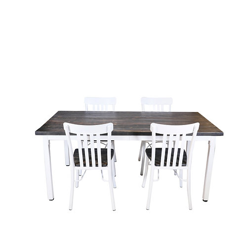Wood Table With White Metal Trim